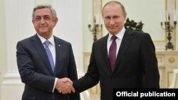 Владимир Путин мен Серж Саргсян. Мәскеу, 10 наурыз 2016 жыл.