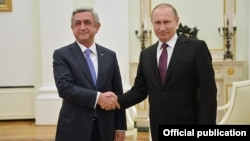 Russia - President Vladimir Putin and his Armenian counterpart Serzh Sarkisian meet in Moscow, 10Mar2016.