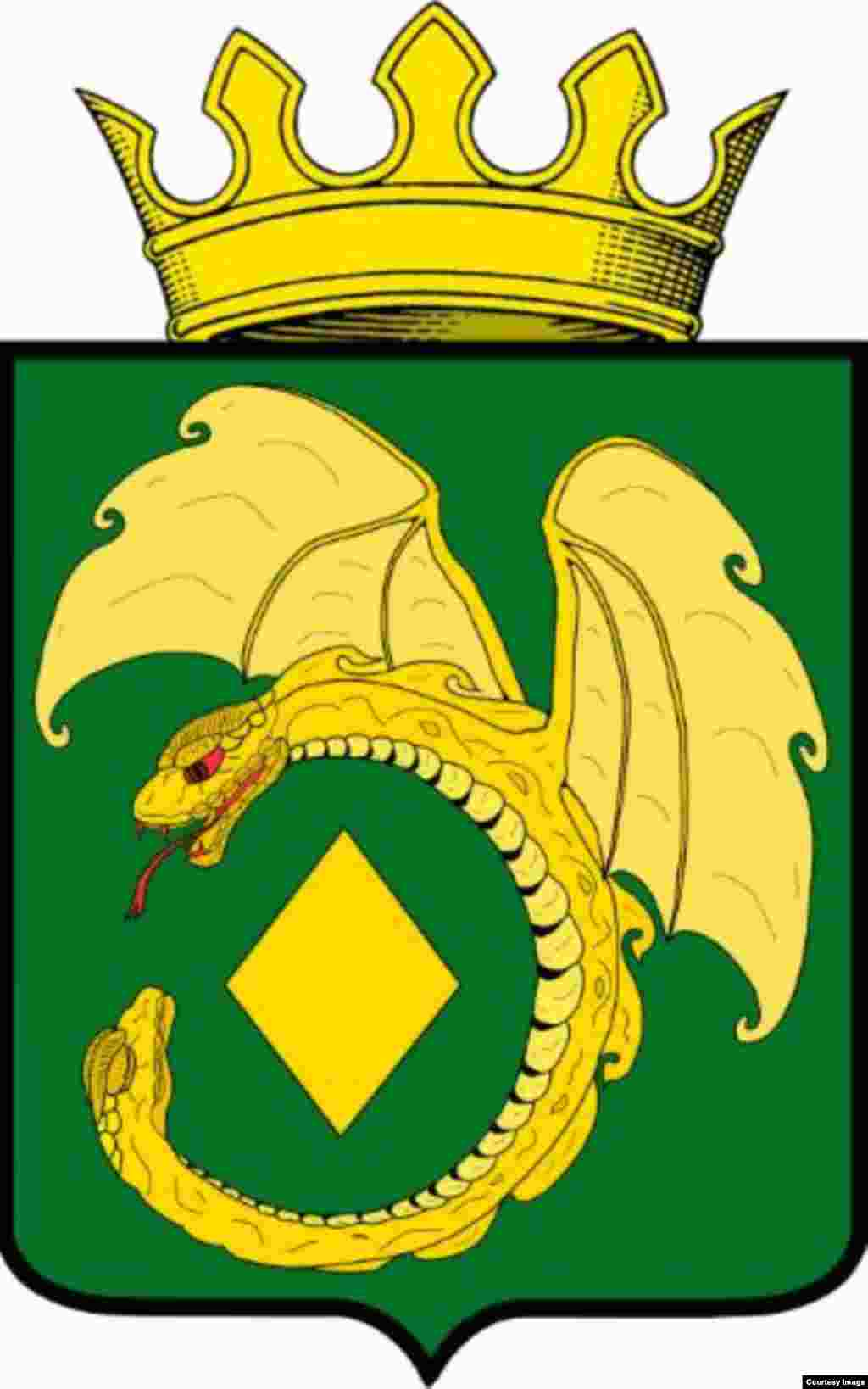 Speaking of folklore, the coat of arms for the district of Mogocha shows the Dyabdar, a giant winged snake that is part of the mythology of the Evenk people. Mogocha is 80 kilometers north of the Chinese border. Evenks are present in China, Russia, and Mongolia.