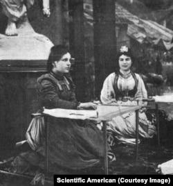 Bosnian women weaving inside the pavilion