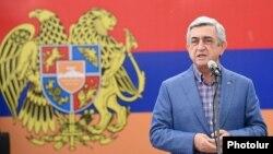 Armenia - President Serzh Sarkisian speaks at a ceremony in Tsaghkadzor, 12Sep2015.