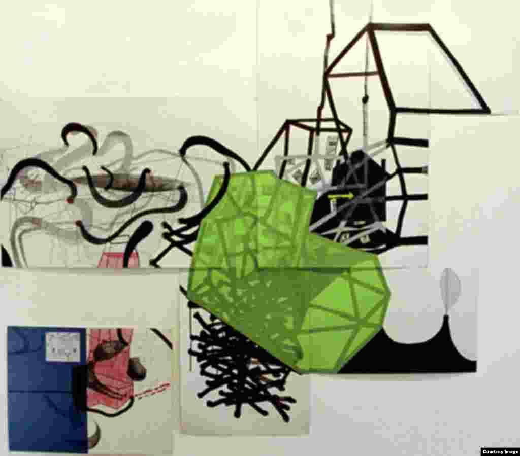ავტოპორტრეტი, როგორც არქიტექტურა. 2002 წელი. სხვადასხვა ზომის. მელანი, ფანქარი, კოლაჟი ქაღალდზე.