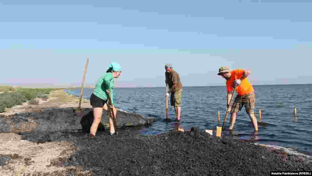 В парк часто приезжают волонтеры, чтобы помочь обустроить территорию. На фото волонтеры Всемирного фонда дикой природы (WWF) строят мостик над лиманом, для наблюдений за уровнем воды