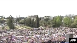Russia's NTV showing the rally in Sukhumi