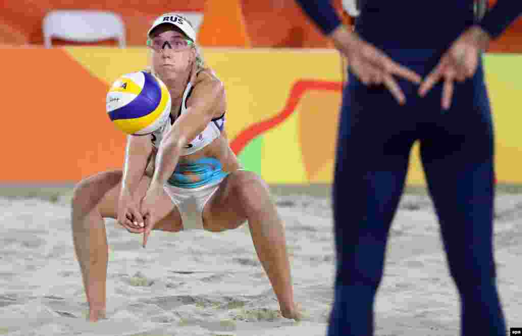 Evgenia Ukolova of Russia plays in the women's beach volleyball quarterfinal.