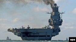 Авианесущий крейсер «Адмирал Кузнецов» в Средиземном море, 21 октября 2016 года