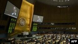 Заседание Генеральной ассамблеи ООН, в ходе которой был одобрил договор о торговле оружием. Нью-Йорк, 2 апреля 2013 года.