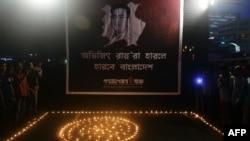 صدها نفر در اعتراض به کشته شدن آبهیجیت رای در داکا، پایتخت بنگلادش، تجمع کردند.