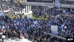 Protesters gather in Tripoli in support of the caretaker Prime Minister Saad Hariri.
