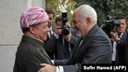 File photo:IRAQ -- Kurdistan Democratic Party (KDP) Masud Barzani (L), welcomes Iranian Foreign Minister Mohammad Javad Zarif in Irbil, the capital of the Kurdish autonomous region, January 15, 2019