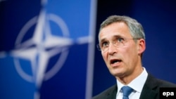 Генеральный секретарь НАТО Йенс Столтенберг по завершении экстренного заседания, собранного после инцидента с Су-24. Брюссель, 24 ноября 2015 года.