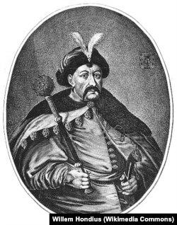 Богдан Хмельницький, портрет з гравюри Вільгельма Гондіуса (XVII ст.)