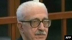A grab taken from Al-Iraqiya television station shows Tariq Aziz, former Iraqi deputy prime minister during the Saddam Hussein era, listening to a judge's verdict on charges of crimes against humanity during a previous trial in March 2009.