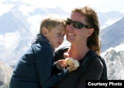 Eva Vitkova with her son, Adam.