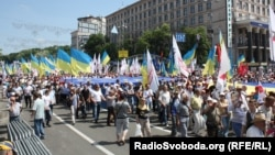 "Participants in the opposition's ""Rise, Ukraine!"" rally, which targeted President Viktor Yanukovych and his allies, in Kyiv on May 18."