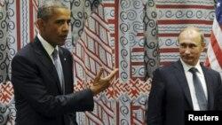 АҚШ президенті Барак Обама (сол жақта) мен Ресей президенті Владимир Путин. Нью-Йорк, 28 қыркүйек 2015 жыл.