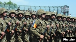 Nagorno- Karabakh - Soldiers march in a military parade in Stepanakert, 9May2012.