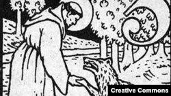 Св. Франциск Ассизский усмиряет волка. С гравюры Карла Вайдемайера (1911)