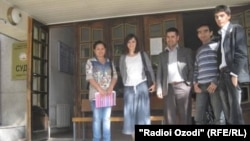 Members of the Amparo group appear at a court hearing in Khujand earlier this month.