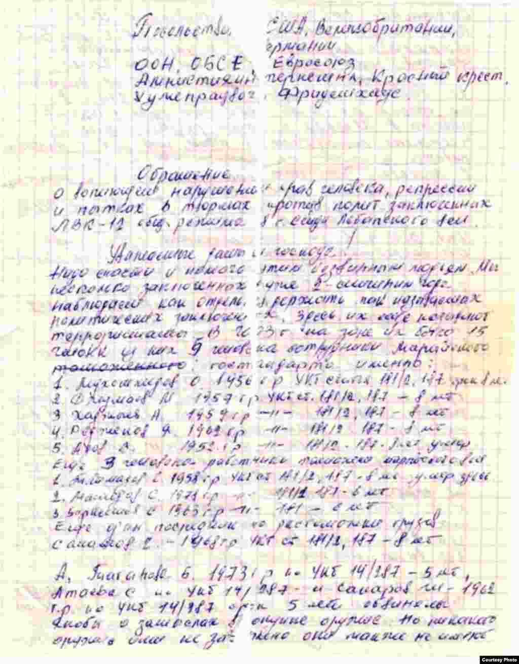 Обращение Акмухаммета Байханова в международные организации и посольства.