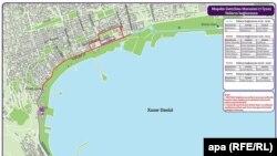 Схема дорог, которые будут перекрыты в дни эстафеты огня Евроигр