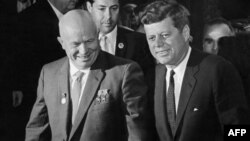 Soviet leader Nikita Khrushchev (left) and U.S. President John F. Kennedy brought their countries to the brink of nuclear war in 1962.