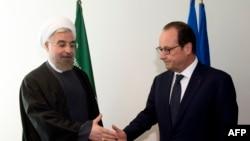 Presidenti iranian Hassan Rohani dhe ai francez Francois Hollande