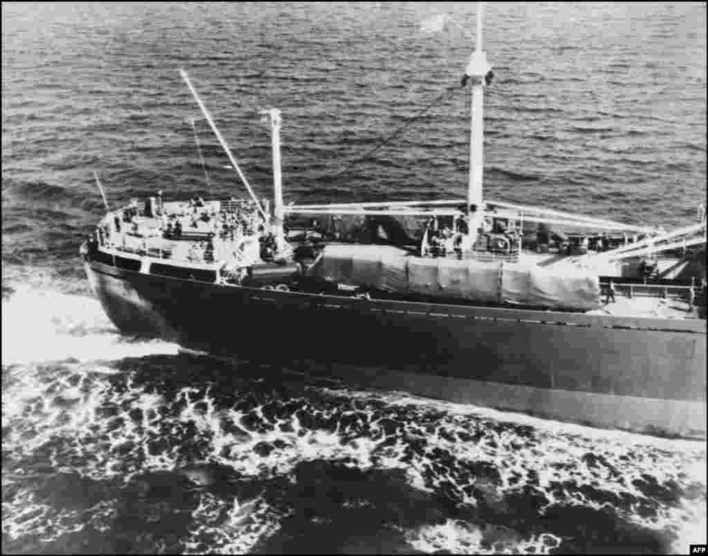 "The Soviet freighter ""Anosov"" carries missiles from Cuba."