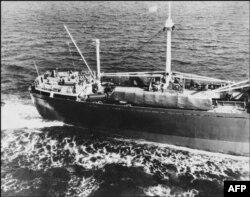 """SSRİ-nin """"Anosov"""" gəmisi ikitərəfli razılaşmaya görə sovet raketlərini Kubadan çıxarır, 9 niyabr 1962"""