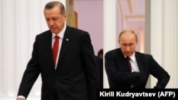 Russian President Vladimir Putin (right) and then-Turkish Prime Minister Recep Tayyip Erdogan in 2012, when relations between the two men were more cordial than they have been of late.