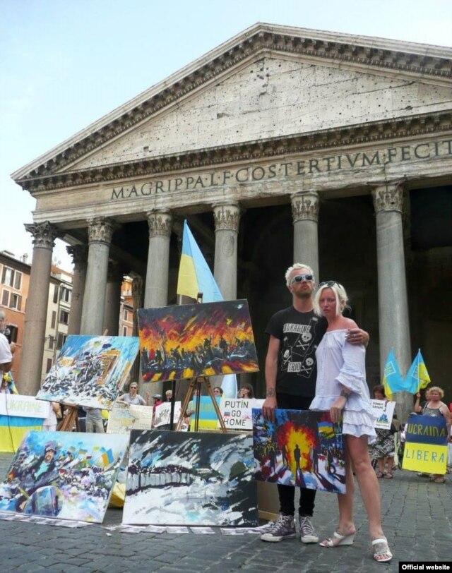 Марія Діордічук та Єгор Стрєлков з виставкою «Кольори волі» у Римі