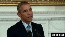 АҚШ президенті Барак Обама Ақ үйдегі баспасөз мәслихатында. Вашингтон, 2 қазан 2015 жыл.