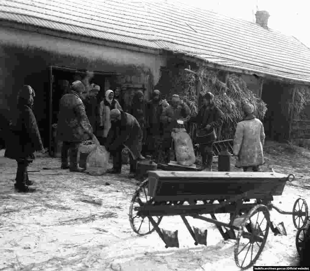 Трудівники колгоспу імені Д. Бєдного, с. Удачне Гришинського району Донецької області, отримують зерно на трудодні, 13 листопада 1931 року