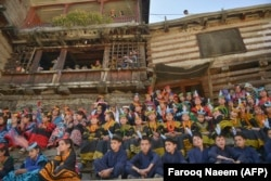 Kalash youngsters gather for the royal visit on October 16.