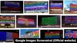 جستوجویی در وبسایت گوگل نشان میدهد که ساختمان شهرداری تلآویو به رنگ پرچمها و نشانهای مختلفی درآمده، هرچند پرچم جمهوری اسلامی هرگز در میان آنها نبوده