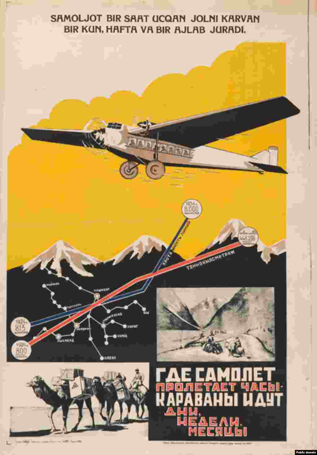 A 1930s poster in Russian extolls the advantages of flying instead of traveling overland in a caravan. The poster says how a plane can get you to your destination within hours, whereas caravans take days, weeks, or even months. (Artist: A. Stren)