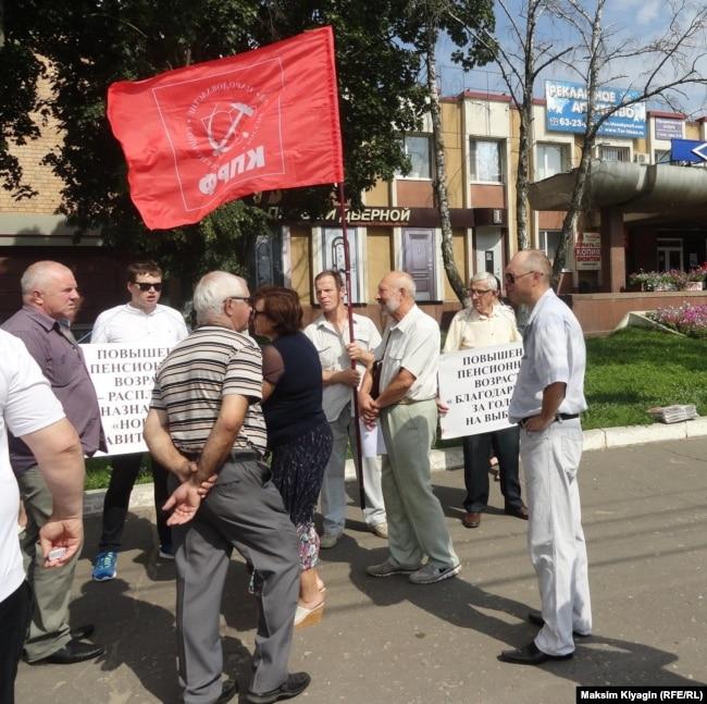Пикет против повышения пенсионного возраста 28 июля в Орле