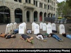 Акция в Швейцарии в знак протеста против применения смертной казни в Белоруссии