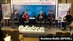 Pavel Lužin, Klarisa Duvinjo, Štefan Lene i Ulrih Kün na sesiji Beogradskog bezbedonosnog foruma