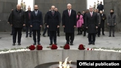 Armenia -- President Armen Sarkissian, Prime Minister Nikol Pashinian and other officials visit the Armenian Genocide Memorial at Tsitsernakaberd, Yerevan, December 9, 2019.