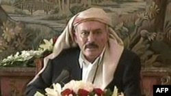 A TV grab shows Yemeni President Ali Abdullah Saleh delivering a televised speech from Riyadh on August 16.