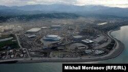 Soçidə tikilən Olimpiya Stadionunun havadan görüntüsü. 18 may 2012