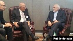 آگوستو سانتوس سیلوا، وزیر خارجه پرتغال در دیدار با محمدجواد ظریف، وزیر خارجه ایران.