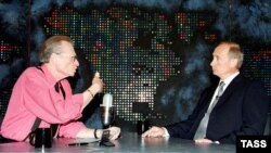Russian President Vladimir Putin (right) is interviewed by Larry King in New York in September 2000.