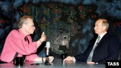 "Larry King (left) interviewing Russian President Vladimir Putin for CNN in New York in 2000, at the dawn of what critics deem the era of ""Putinism."""