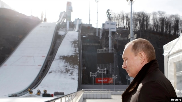 Russian President Vladimir Putin visits the RusSki Gorki Jumping Center at the Krasnaya Polyana resort near the Black Sea city of Sochi on February 6.