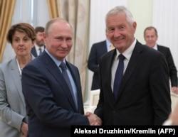 Президент России Владимир Путин принимает в Кремле генерального секретаря Совета Европы Турбьёрна Ягланда, июнь 2018 года