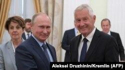 Президент России Владимир Путин и Генсек СЕ Турбьерн Ягланд во время встречи в Кремле