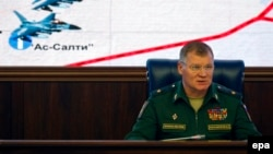 Russian Defense Ministry spokesman Igor Konashenkov (file photo)