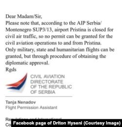 Mejl Civilne avijacije Srbije